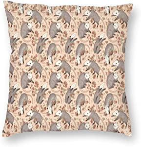antcreptson Opossum and Roses Throw Pillow Decorative Pillow Case Home Decor Square 18x18 Inches Pillowcase