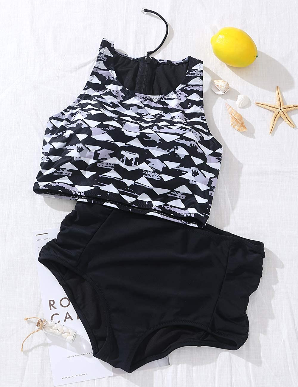 Women Athletic Two Piece Swimsuits Sports High Waisted Bathing Suit Crop Tops Bikini Set