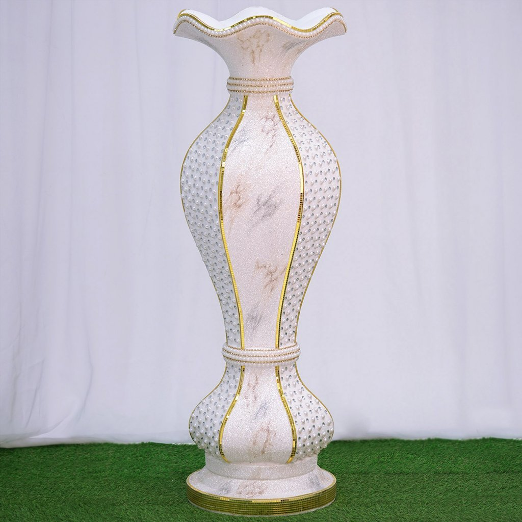 """Efavormart 48"""" Shimmering Gold Glittered Marble Design Floor Flower Pot Vase With Pearls and Mirror Mosaic Embellishment"""