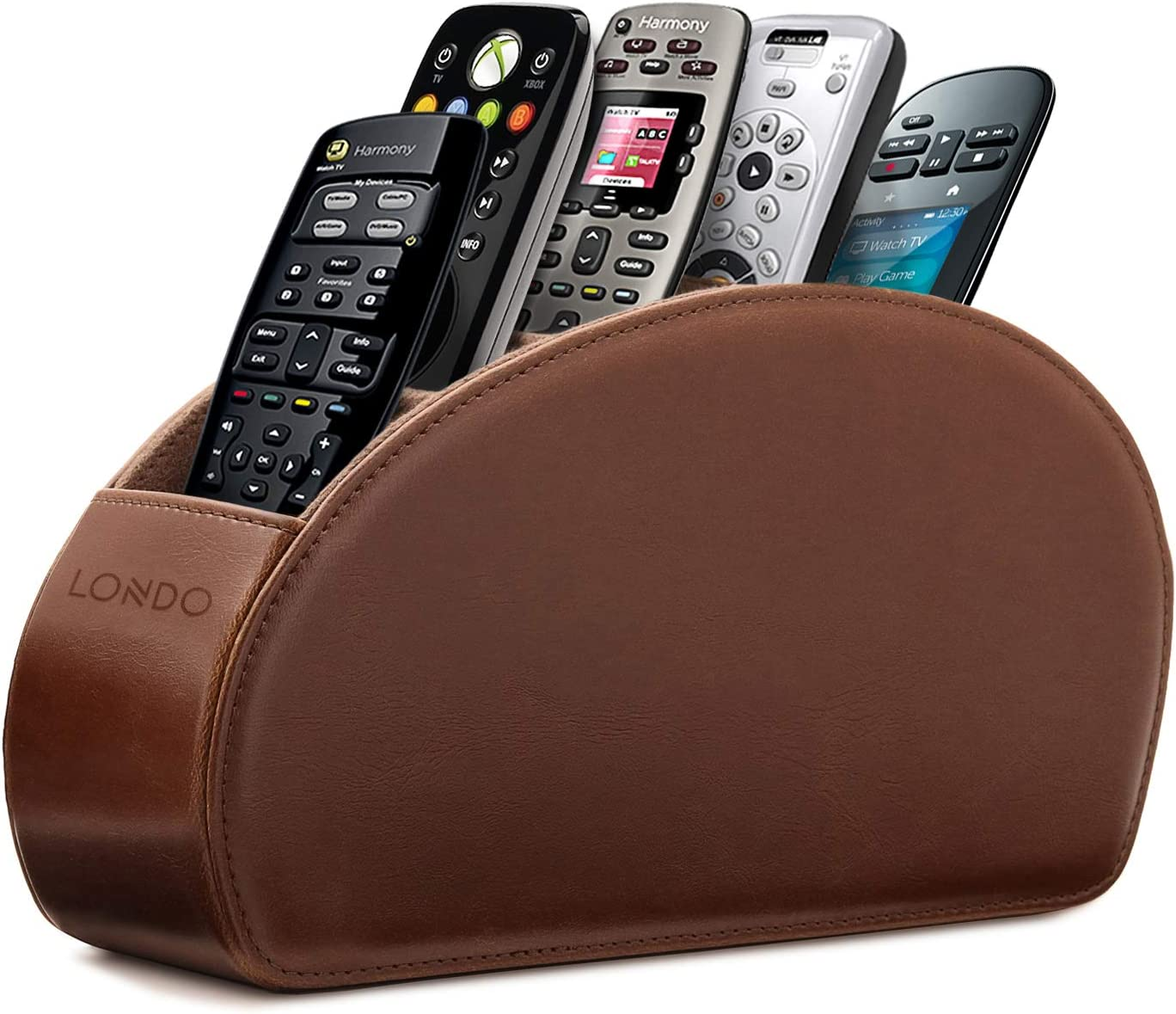 Londo Leather Remote Control Holder Organizer with Suede Lining for DVD Blu-ray TV Roku or Apple TV Remotes (Leather, Dark Brown)