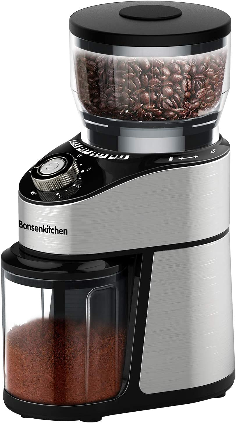 Stainless Steel Conical Burr Coffee Grinder, Automatic Electric Burr Mill Coffee Grinder with 12 Ground Size, Cup Selection for Home, Office,Kitchen
