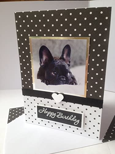 Handmade French Bulldog Dog Happy Birthday Greetings Card Cake