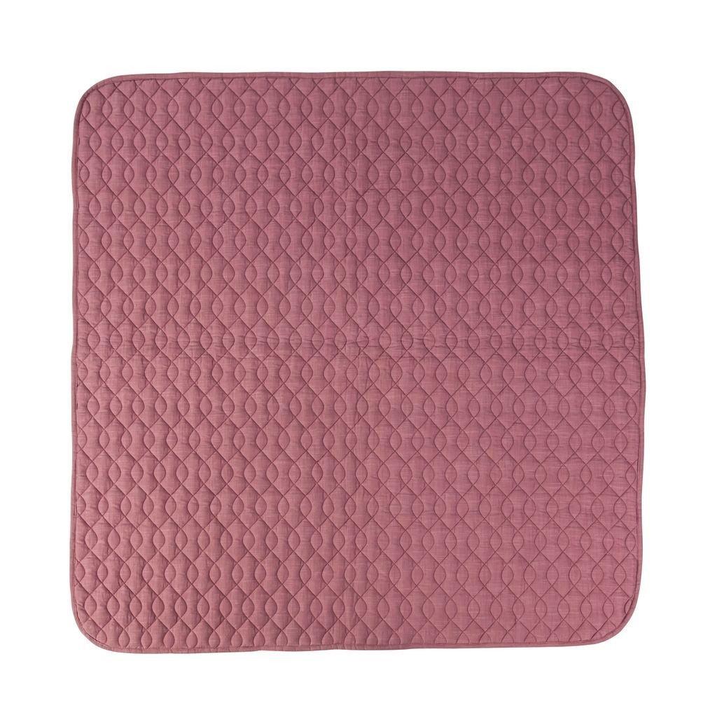 Manta de juego Sebra, acolchada, color rosa viejo, manta para cochecito de bebé de algodón para niñas