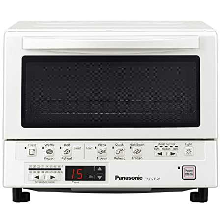 Panasonic Flash Xpress Compact Toaster Oven With Double Infrared Heating, Crumb Tray And 1300 Watts Of Cooking Power – 4 Slice Countertop Toaster Oven   Nb G110 P W (White) by Panasonic
