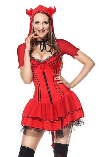 ec8c6c1997c Sibeawen Women's Sexy Devil Body Shaper Halloweens Costumes Red Small/Medium