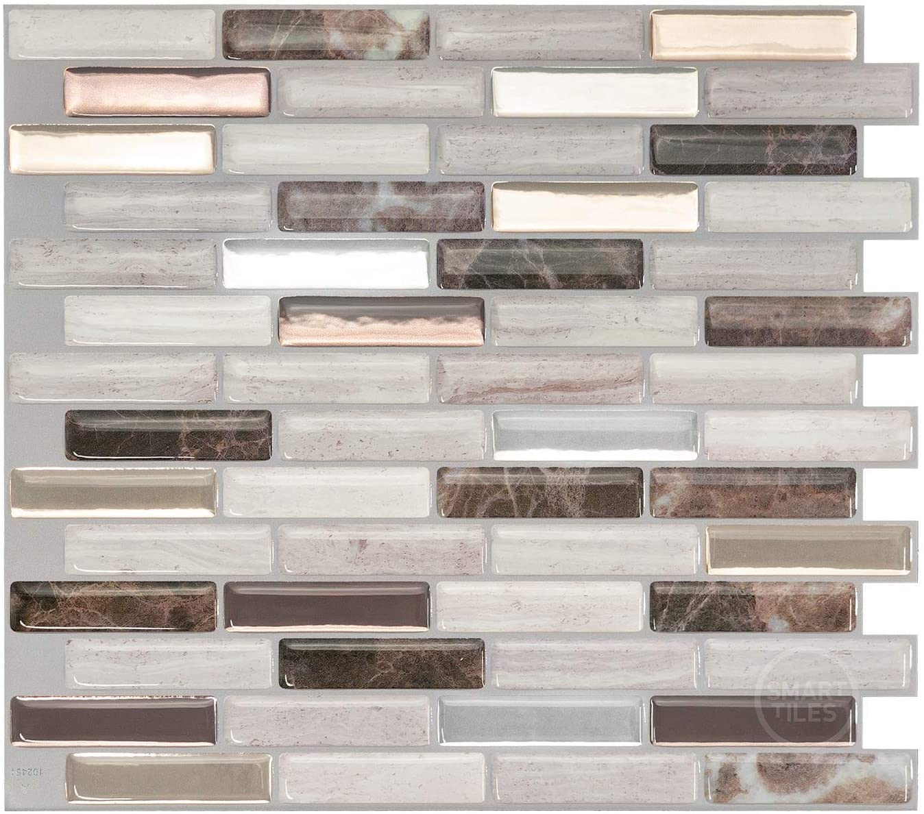 Smart Tiles Self Adhesive Wall Tiles Milenza Genoa 4 Sheets Of 10 20 X 9 00 25 91 Cm X 22 86 Cm Kitchen And Bathroom Stick On Tiles 3d Peel And