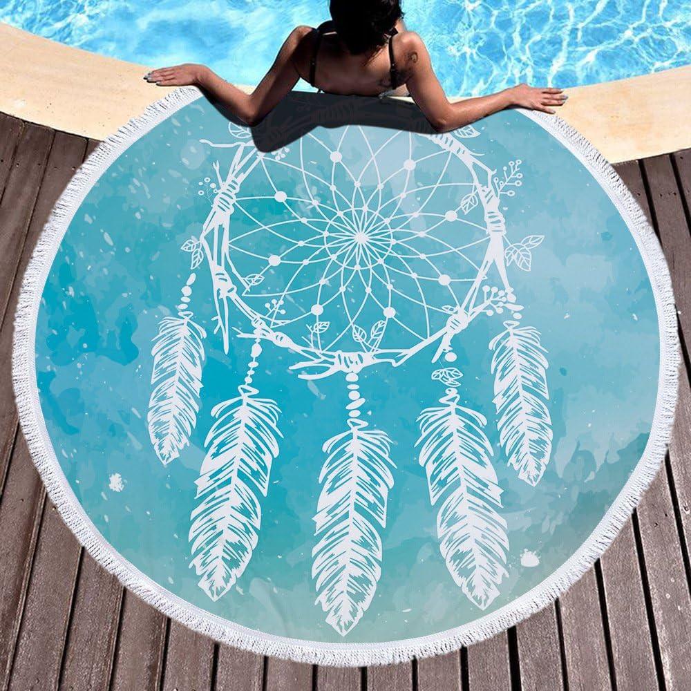 Atrapasue/ños Toalla de playa grande redondo microfibra toalla de playa playa manta Toalla Mantel de picnic pared colgantes Yoga Alfombras 150/cm 1