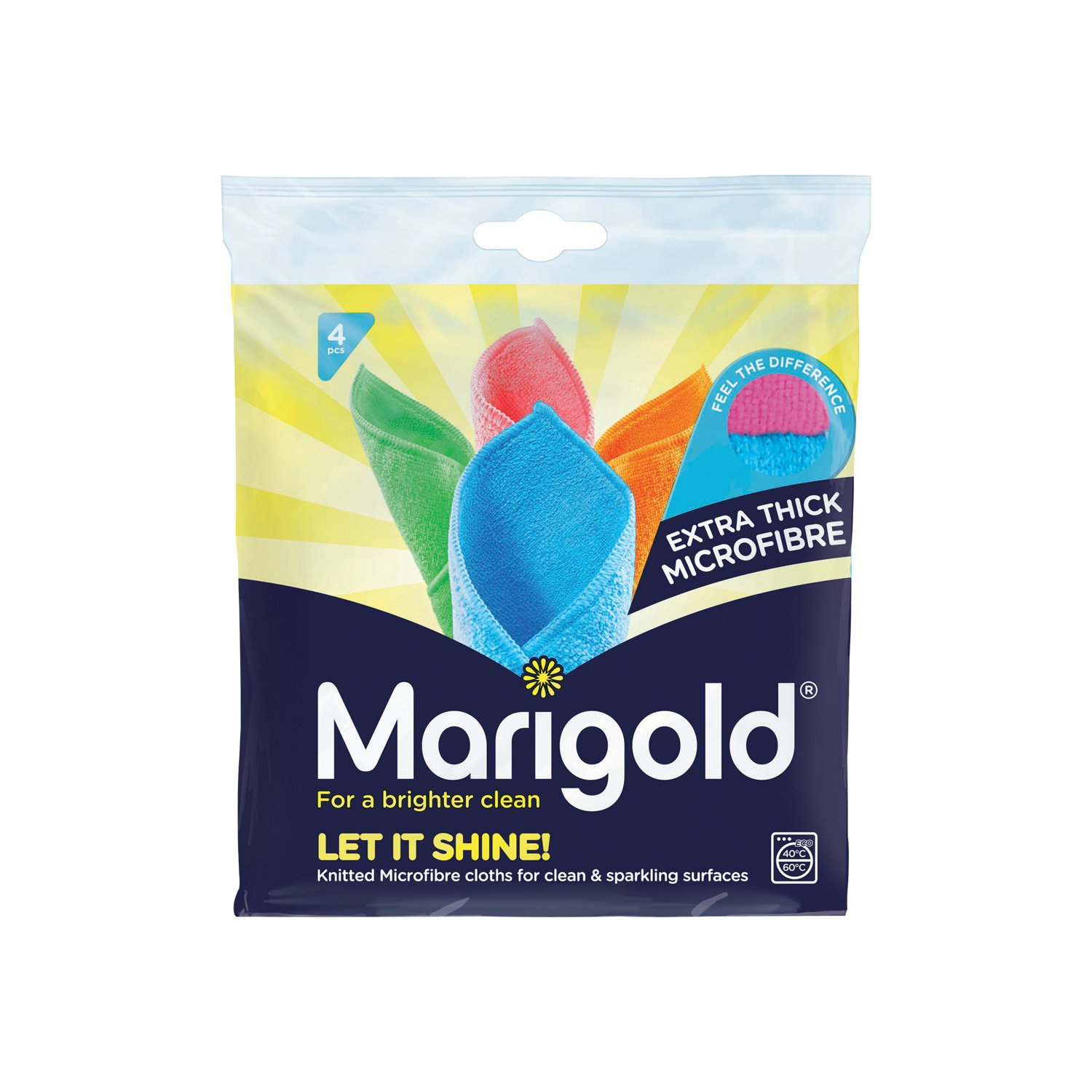 Marigold Let it Shine Extra Thick Microfibre Cloths, Multicolour, 5 Packs of 4 Cloths