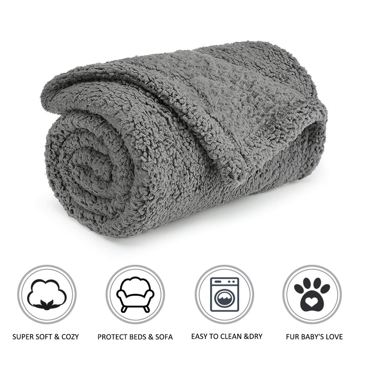 PETCUTE Pet Blanket Fluffy Fleece Dog Blanket Pet Throw for Dogs Blanket for Dogs Cats 2 Pieces