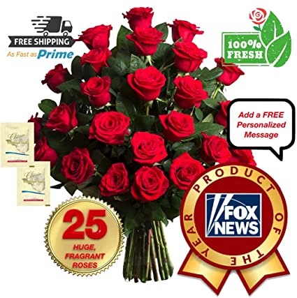 Premium Fresh Flowers For Delivery 25 Fragrant Giant Long Lasting Red Roses Bouquet No Vase Best Flowers Quality On Amazon Award Winning 2