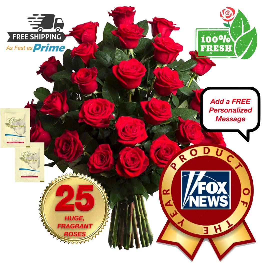 PREMIUM Fresh Flowers for Delivery, 25 FRAGRANT, GIANT & LONG LASTING Red Roses Bouquet, No Vase, Best Flowers Quality On Amazon, Award-Winning, 2 Flower Food Packets Included