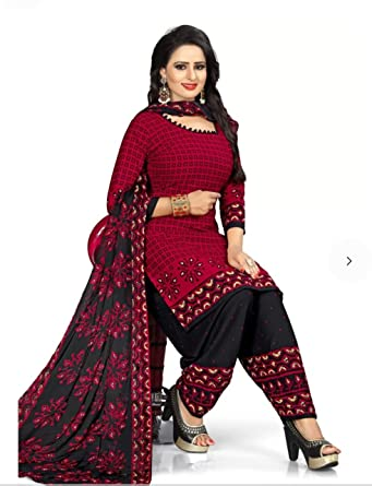 b2d8f14e56 TryMode Women's French Crepe Salwar Kameez Dress Material (Dark Pink, Free  Size): Amazon.in: Clothing & Accessories
