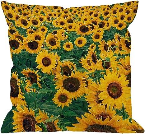 Linen Cotton Sunflower Flower Cushion Cover Square Pillow Case Sofa Home Décor