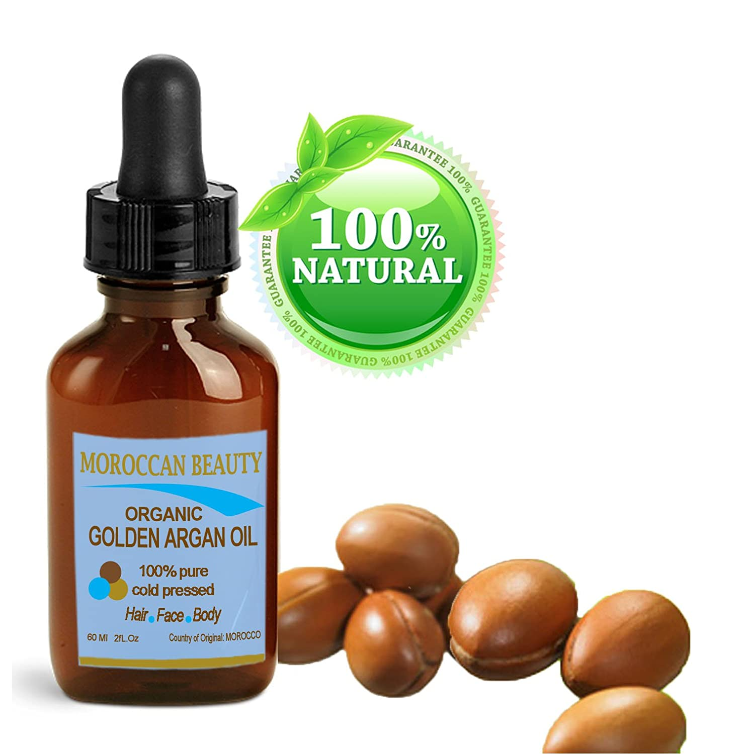 Botanical Beauty Organic Golden Argan Oil, 100% Pure/ Natural, For Face, Hair, Nails And Body, 1oz-30ml Moroccan Beauty