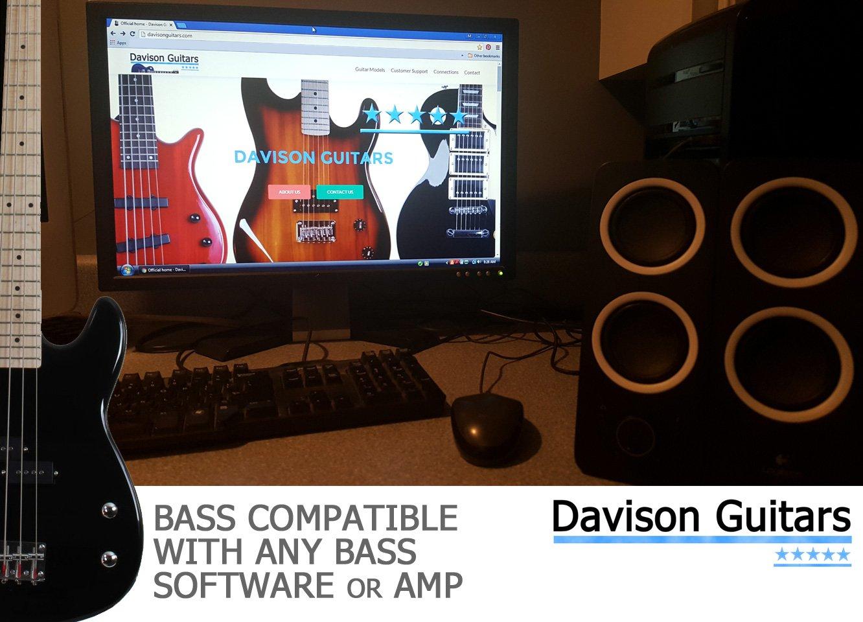 Davison Guitars 4 String Black Full Size Electric Bass Guitar With Cord And Picks By Davison (BASS235 BK GCP) by Davison Guitars