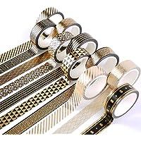 Yubbaex 10 Rolls Washi Tape Set Masking Black Gold Foil Print Decorative for Arts, DIY Crafts, Bullet Journals, Planners…