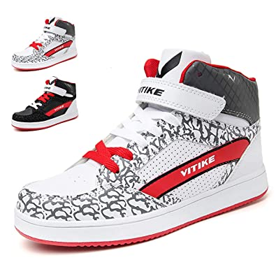 0a0436be64f206 WETIKE Girls Sneakers High Top Big Little Kids Shoes for Boys Skate Shoes  Youth School Sports