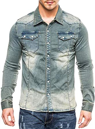 EGOMAXX Camisa Vaquera Vintage Tejido Grueso, Color:Azul, Talla:M: Amazon.es: Ropa y accesorios