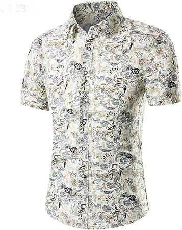 Gimitunus Camisa Casual de Manga Larga Camisa Hawaiana Casual de Manga Corta con Botones de los Hombres, Talla M - 3XL (Color : Beige, tamaño : XL): Amazon.es: Hogar