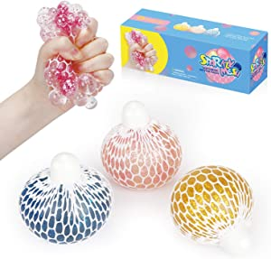 Squishy Mesh Stress Balls Toy, TOYCRAZ Grape Stress Relief Squeeze Balls (3-Pack) for Adults Kids Teens, Sparkly Fidget Sensory Balls for Calm Focus and Hand Exercise