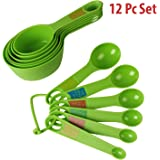 Hokipo Plastic Measuring Cups And Spoon Set With Ring Holder, 12 Piece Set, Green