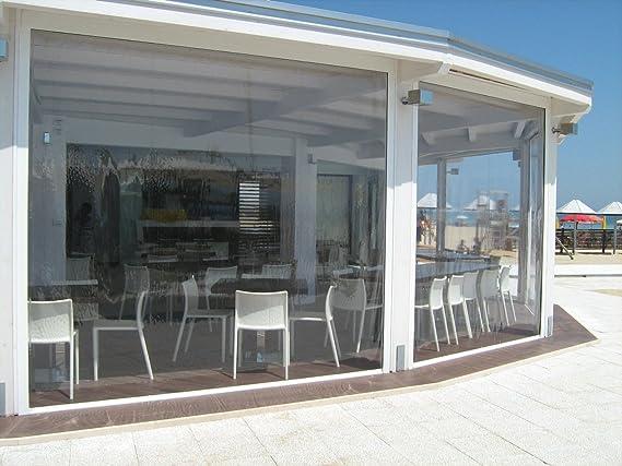 Cortina de invierno de PVC, cristal transparente, modelo EOLO, cubre balcones, porches, galerías. A medida.: Amazon.es: Jardín