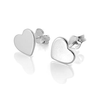 7dcbba4ec Flat Sterling Silver Heart Stud Earrings: All Seasons: Amazon.co.uk:  Jewellery