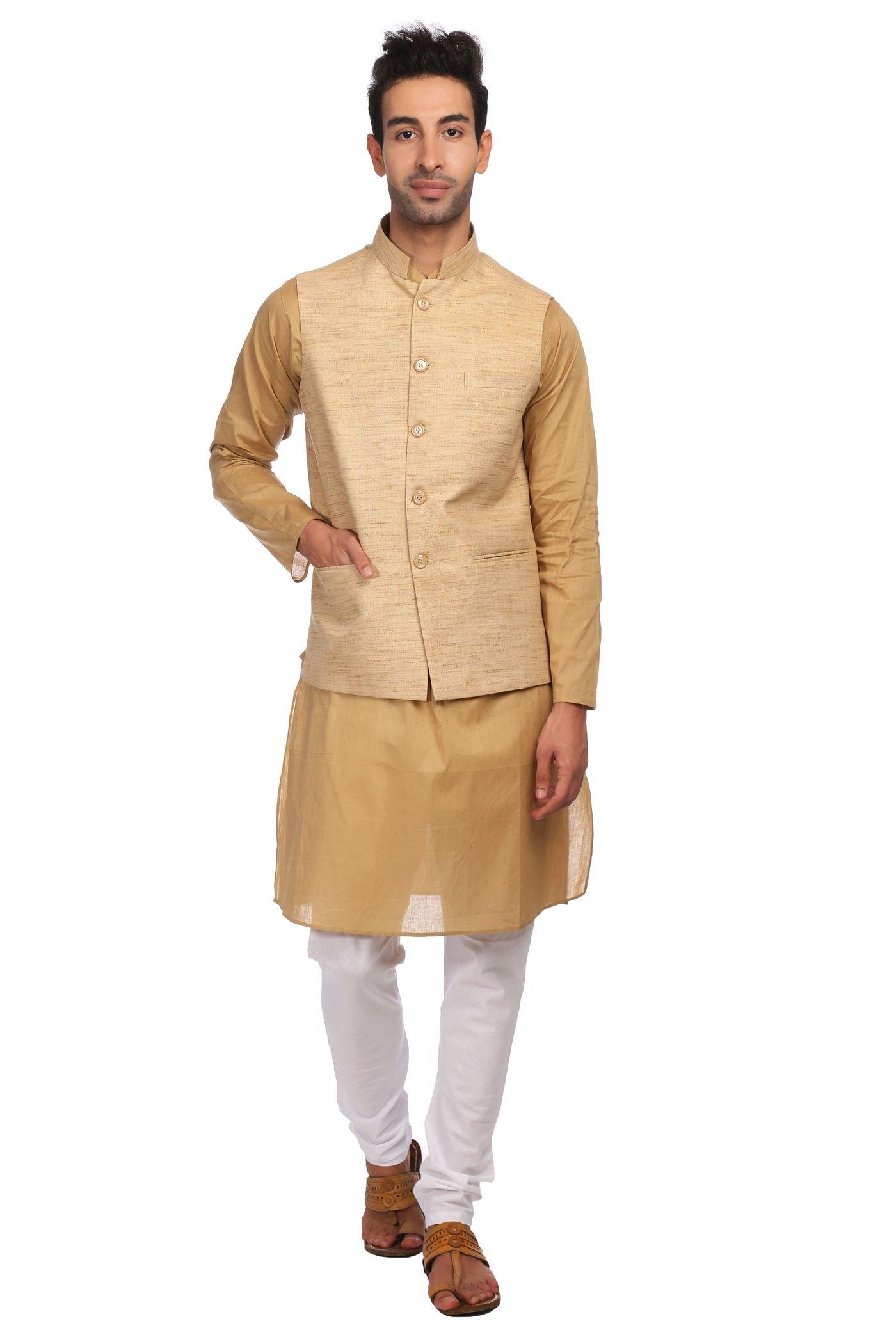 WINTAGE Men's KhadiBeige Nehru Jacket Waistcoat and 100% Cotton Pista Kurta Pajama Indian Ethnic Set : XXXX-Large