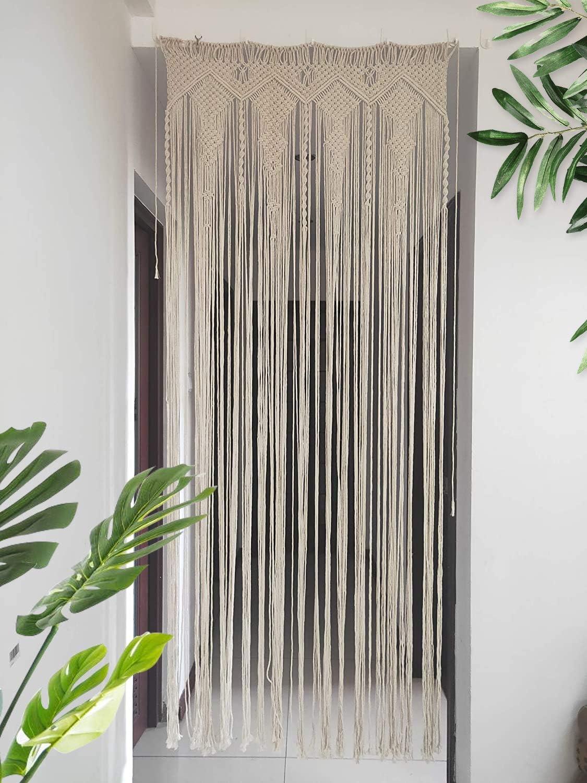Hysunland Macrame Doorway Curtains/Bohemian Room Divider/Handmade Door String Curtain for Wedding Backdrop, Bedroom Kitchen/Birthday, Party, 33