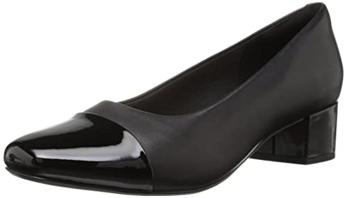 CLARKS Women s Chartli Diva Pump, Black Leather Synthetic Combo, ... 680f5245ab7