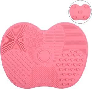 Tenmon Makeup Brush Cleaning Mat, Silicone, Suction Cup Portable Makeup Brush Cleaning Tool, 2 Colors, Small (Rose Red)