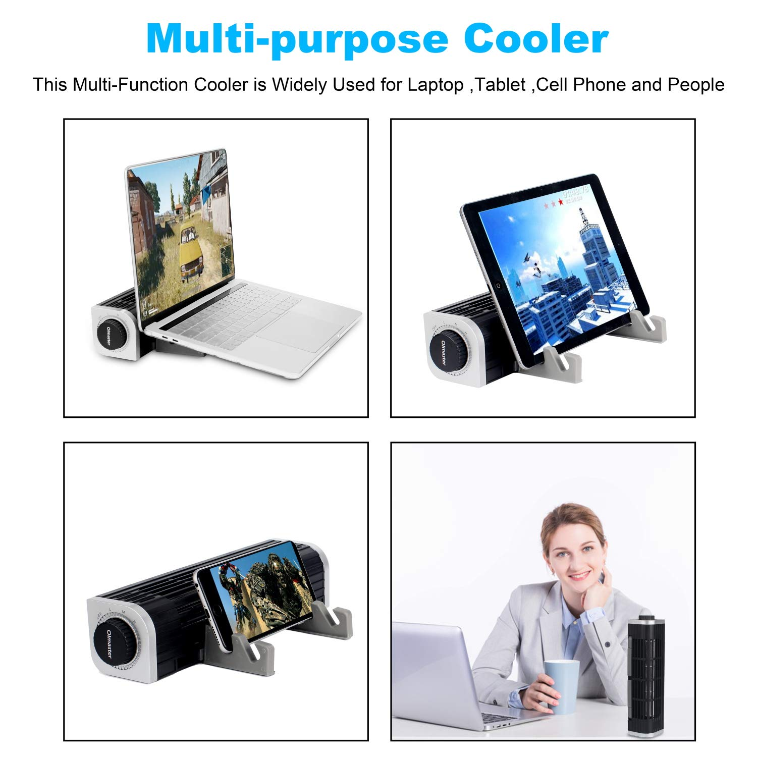 oimaster Laptop Cooler with Adjustable Stand, USB Laptop Cross-Flow Cooling Fan Pad & Phone Cooling Holder by oimaster (Image #4)