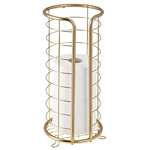mDesign Decorative Metal Free Standing Toilet Paper Holder Stand Storage 3 Rolls Toilet Tissue Bathroom/Powder Room - Holds Mega Rolls - Durable Wire in Soft Brass Finish