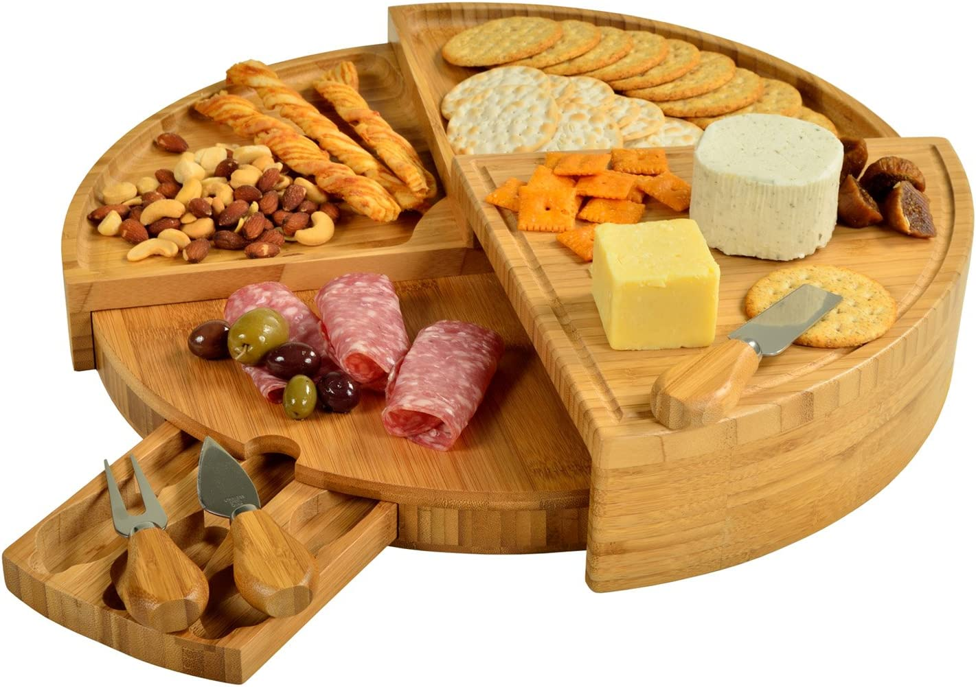 "Picnic at Ascot CB40 Patented Bamboo Cheese/Charcuterie Board with Knife Set - Stores as a Compact Wedge - Opens to 18"" Diameter-Designed & Quality Checked in USA,"