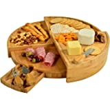 "Picnic at Ascot Vienna Multi Level Bamboo Board for Cheese & Appetizers - 18"" Diameter - USA Patented & Quality Assured"