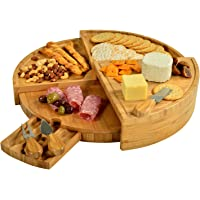 """Picnic at Ascot Patented Bamboo Cheese/Charcuterie Board with Knife Set-Stores as a Compact Wedge-Opens to 18"""" Diameter…"""