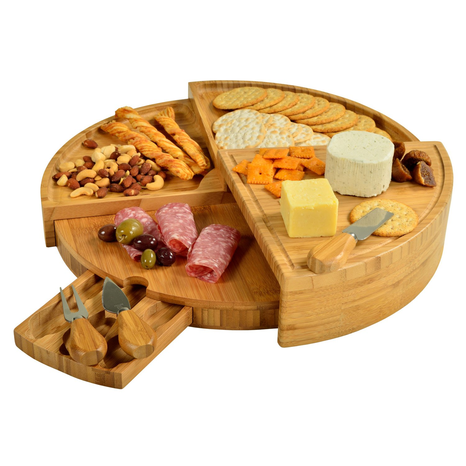 Picnic at Ascot Vienna Bamboo Cheese Board with Cheese Tools - Spirals from a Compact Wedge to 18'' Diameter – USA Patented & Quality Assured
