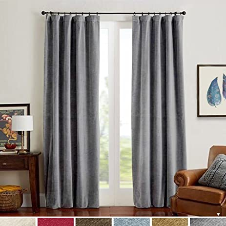 High Quality Grey Velvet Curtains Half Blackout Drapes For Bedroom, Rod Pocket Thermal  Insulated (1 Panel