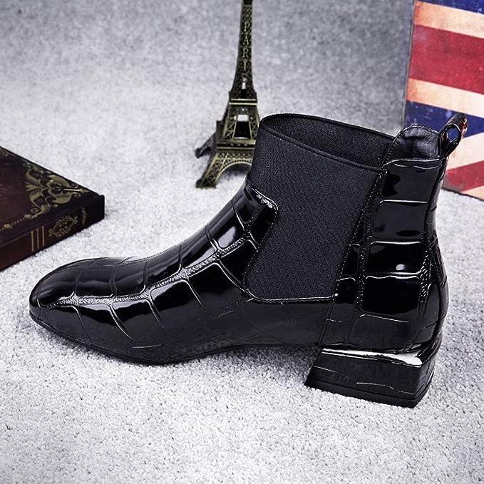 ccad3cad0f05c LuckyGirls Ankle Boots Femme Hiver Bottines Chelsea à Talon Soldes Automne Chaussures  Bottes 2CM Sexy Boots Bottines à Talon Bas en Cuir Verni Shoes 35-40  ...