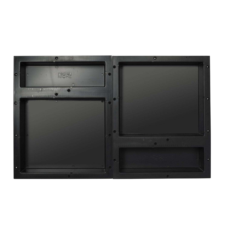 """Tile Redi USA RNQH1620DU-20D Redi Niche Quad Shelf with 14"""" H Left Inner Shelf, 6"""" H Right Inner Shelf & 16"""" W Divider, 32"""" W x 20"""" H, Black"""