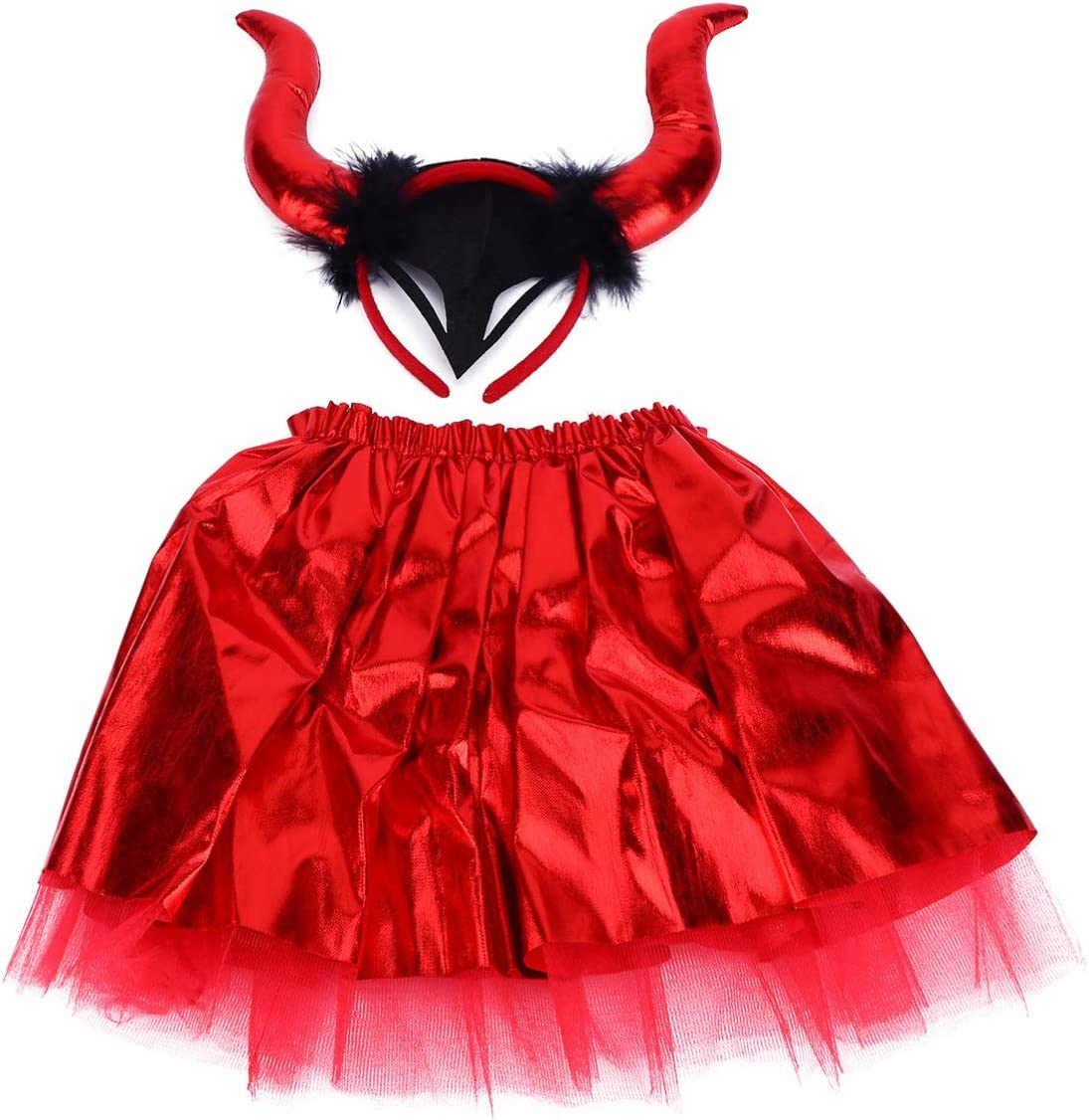 Clispeed Halloween Costume Dress Bull-Horn Skirt with Devil Horn Outfit for Girl Halloween Stage Perfomance Holiday Party