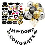 Amycute 46 Pcs Doctorial Hat Balloons Party Supplies,Graduation Photo Booth Props, I'm Done Banner & Congrats Banner, Silver Black Balloons and Sequins Balloons Graduation Decorations