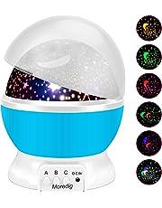 Moredig - Lampada Stelle Bambini, 360° Rotazione Proiettore Luci Bambini con 8 Modalità Romantica Luce Notturna, Regalo per Neonati, Bambini, Adulti, Compleanno, Natale, Halloween ecc