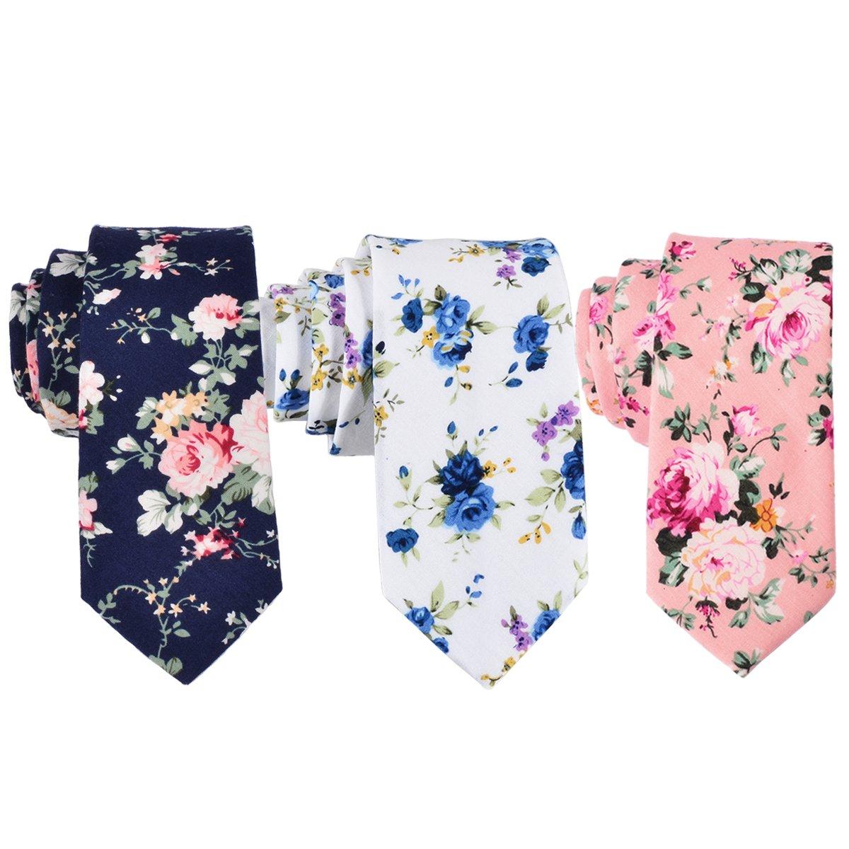 EasyJoy Skinny Ties Men's Cotton Printed Floral Necktie (color 1)