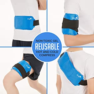 Pain Relief Ice Pack with Strap for Hot & Cold Therapy, Microwave Heat Pad for Back Shoulder, Neck, Waist, Calves and Hip