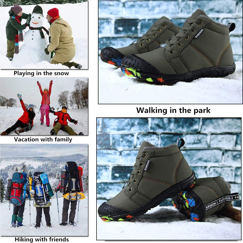 CCZZ Kids Winter Snow Boots Fur Lined Warm Booties Outdoor Waterproof Boots