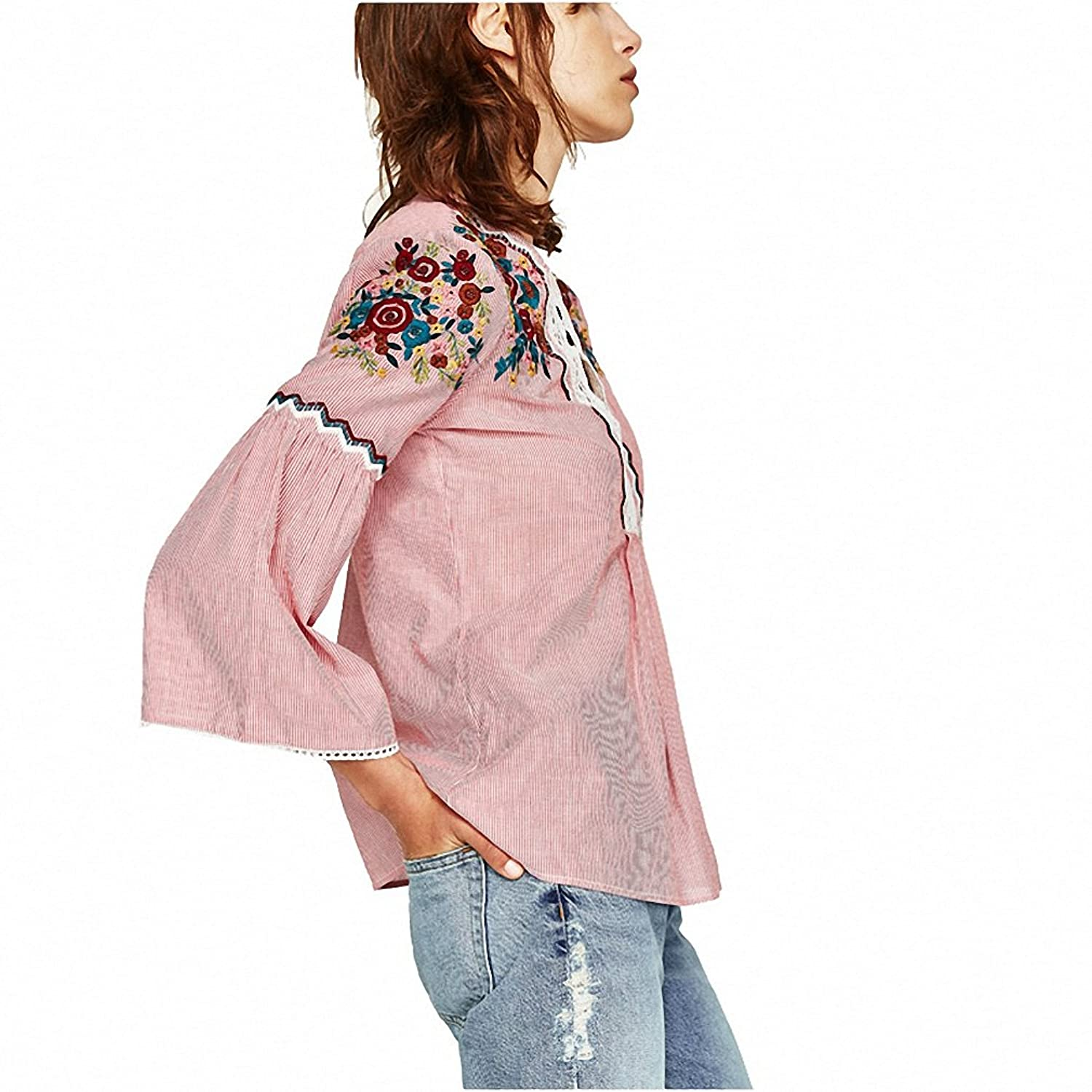 Women Shirts Sommer Blouse NEW Spring New Top Blouse with Sleeve Embroidery O-neck Striped Shirts Casual femininas blusas at Amazon Womens Clothing store: