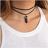 Kercisbeauty Black Wrap Velvet Choker with Black Gemstones Healing Stones Women Girls Everyday Boho Necklace Gift Her…