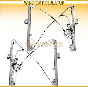 Set of 2 Front Driver and Passenger Side Power Window Regulator with Motor for Chevrolet Silverado Tahoe GMC Yukon XL Sierra Escalade 2000-2006