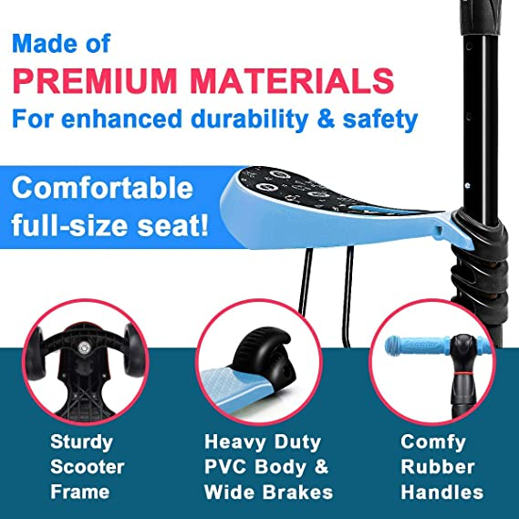 ??Magicwand 3-in-1 Sit &??Stand Wide Platform Height Adjustable Kick &?? Push Scooter for Kids with Removable Seat (Blue)??
